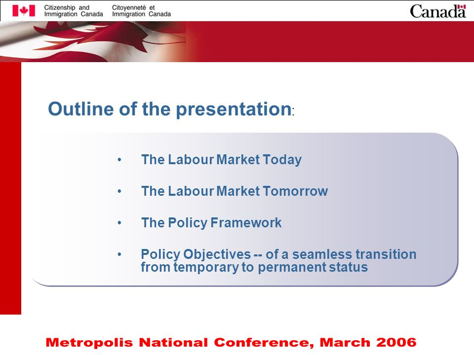 3 Outline of the presentation : The Labour Market Today The Labour Market Tomorrow The Policy Framework Policy Objectives -- of a seamless transition from temporary to permanent status