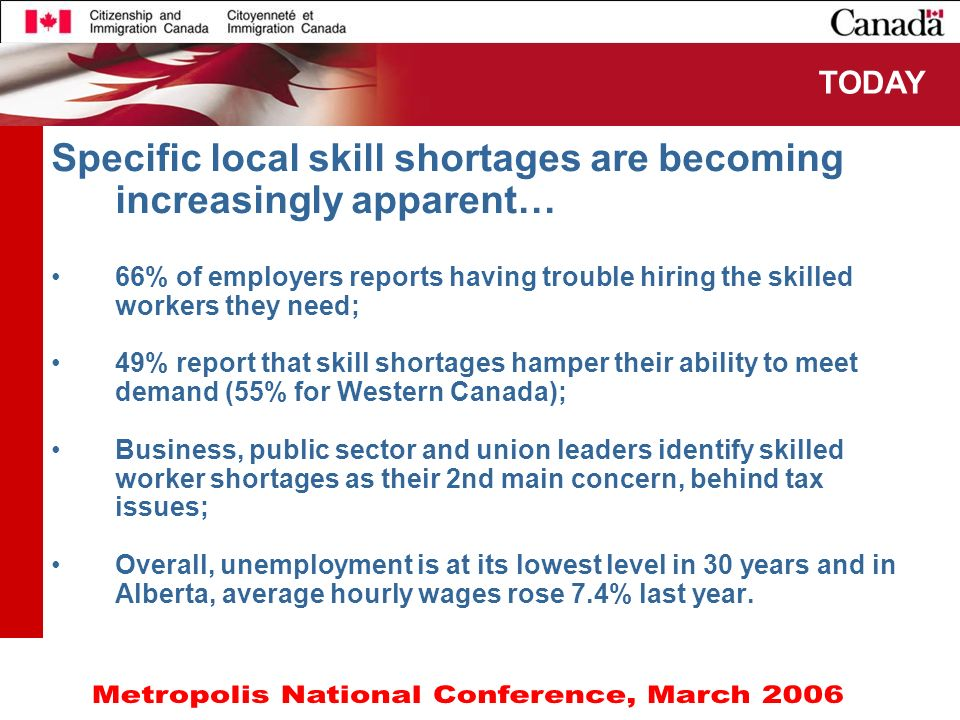 4 Specific local skill shortages are becoming increasingly apparent… 66% of employers reports having trouble hiring the skilled workers they need; 49%