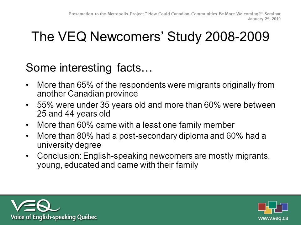 Some interesting facts… More than 65% of the respondents were migrants originally from another Canadian province 55% were under 35 years old and more