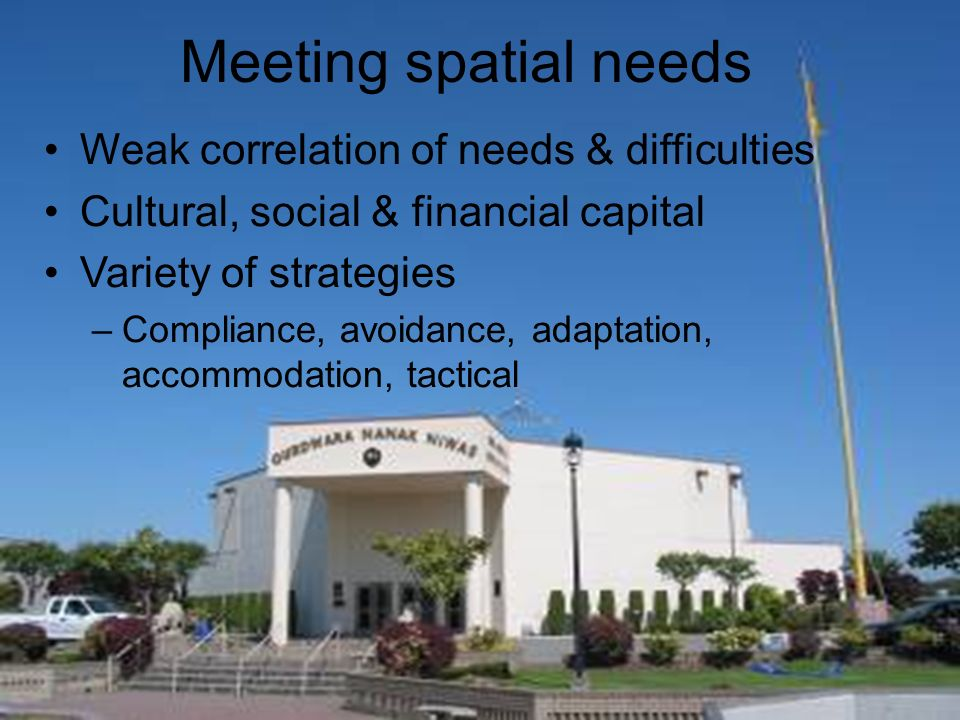 Meeting spatial needs Weak correlation of needs & difficulties Cultural, social & financial capital Variety of strategies –Compliance, avoidance, adaptation, accommodation, tactical