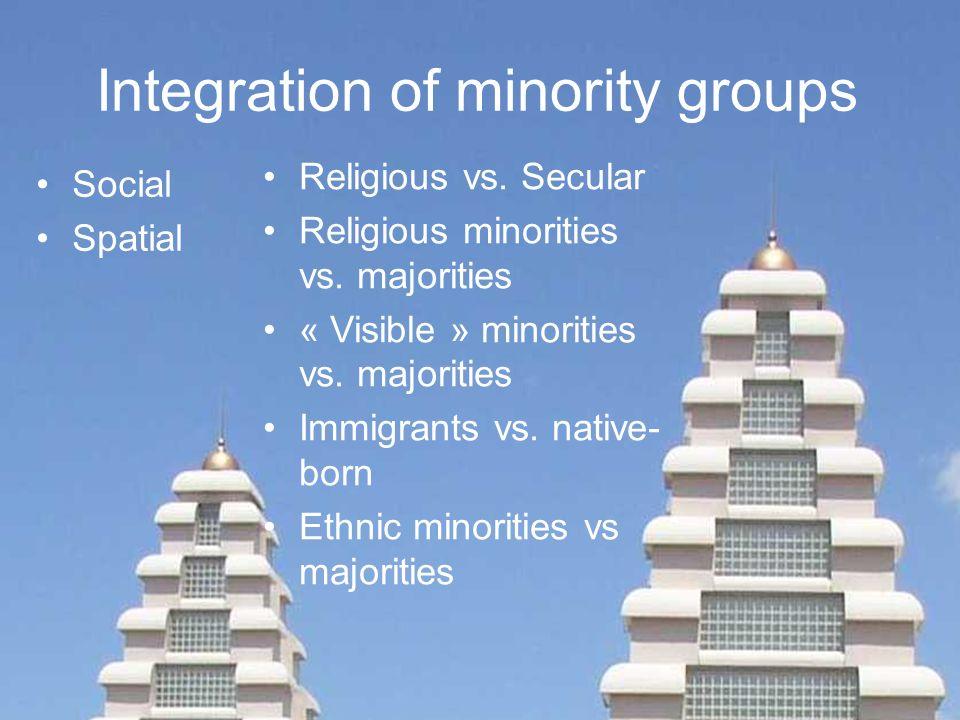 Integration of minority groups Religious vs. Secular Religious minorities vs. majorities « Visible » minorities vs. majorities Immigrants vs. native-