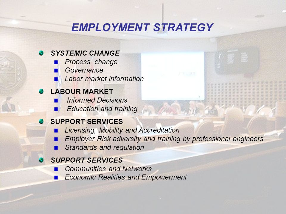 EMPLOYMENT STRATEGY SYSTEMIC CHANGE Process change Governance Labor market information LABOUR MARKET Informed Decisions Education and training SUPPORT SERVICES Licensing, Mobility and Accreditation Employer Risk adversity and training by professional engineers Standards and regulation SUPPORT SERVICES Communities and Networks Economic Realities and Empowerment