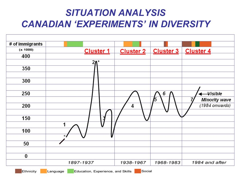 SITUATION ANALYSIS CANADIAN EXPERIMENTS IN DIVERSITY Cluster 1 Cluster 2 Cluster 3Cluster 4