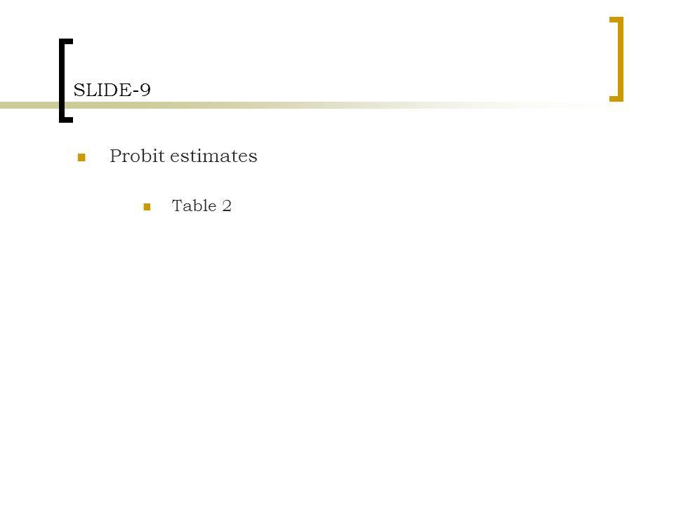 SLIDE-9 Probit estimates Table 2