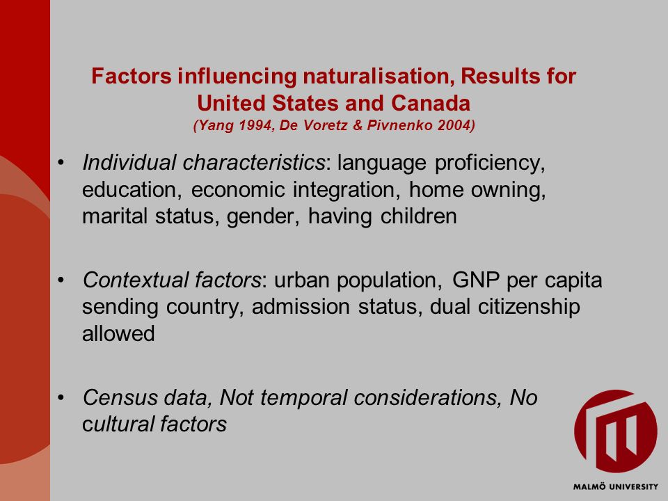 Factors influencing naturalisation, Results for United States and Canada (Yang 1994, De Voretz & Pivnenko 2004) Individual characteristics: language proficiency, education, economic integration, home owning, marital status, gender, having children Contextual factors: urban population, GNP per capita sending country, admission status, dual citizenship allowed Census data, Not temporal considerations, No cultural factors