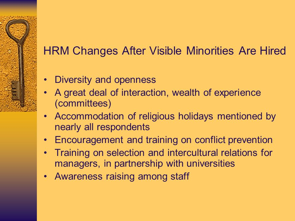 HRM Changes After Visible Minorities Are Hired Diversity and openness A great deal of interaction, wealth of experience (committees) Accommodation of religious holidays mentioned by nearly all respondents Encouragement and training on conflict prevention Training on selection and intercultural relations for managers, in partnership with universities Awareness raising among staff
