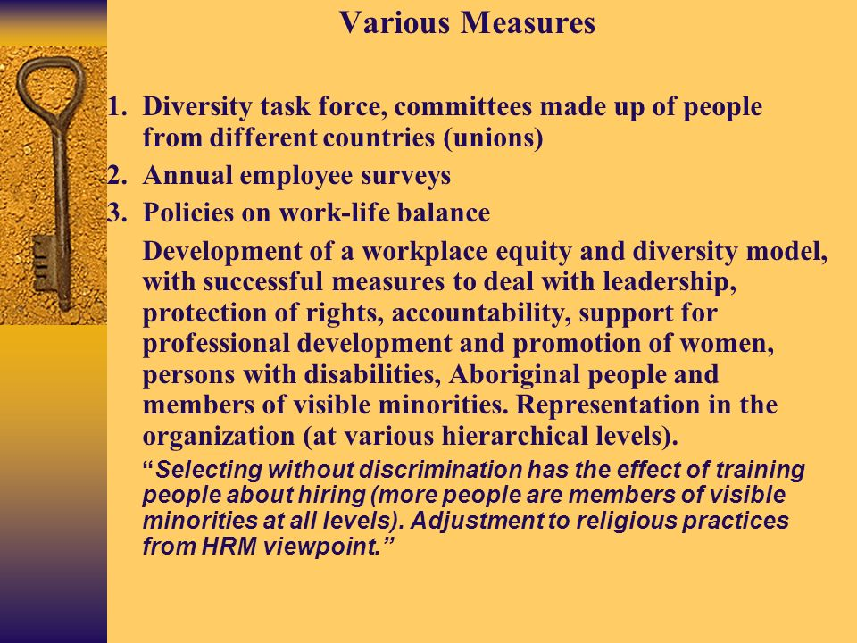 Various Measures 1.Diversity task force, committees made up of people from different countries (unions) 2.Annual employee surveys 3.