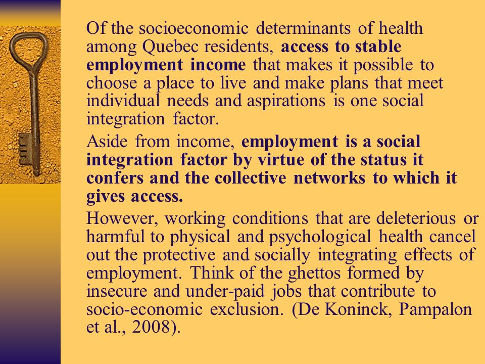 Of the socioeconomic determinants of health among Quebec residents, access to stable employment income that makes it possible to choose a place to live and make plans that meet individual needs and aspirations is one social integration factor.