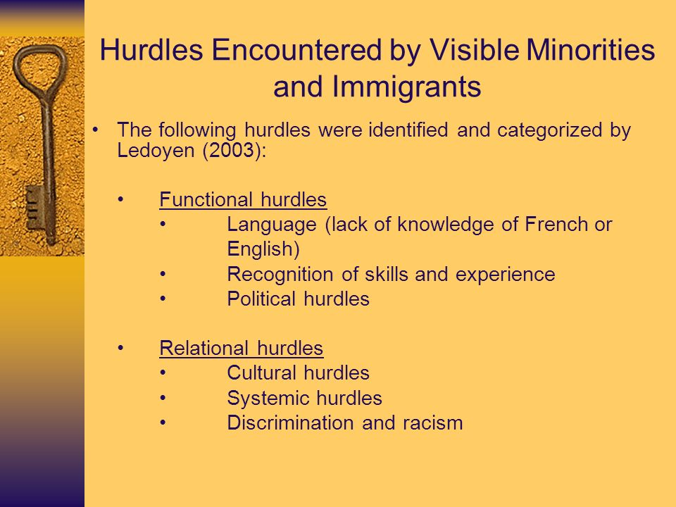 Hurdles Encountered by Visible Minorities and Immigrants The following hurdles were identified and categorized by Ledoyen (2003): Functional hurdles L