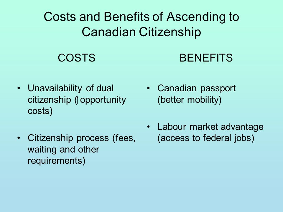 Costs and Benefits of Ascending to Canadian Citizenship COSTS Unavailability of dual citizenship ( opportunity costs) Citizenship process (fees, waiti