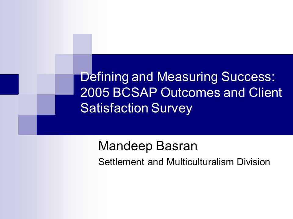 Defining and Measuring Success: 2005 BCSAP Outcomes and Client Satisfaction Survey Mandeep Basran Settlement and Multiculturalism Division