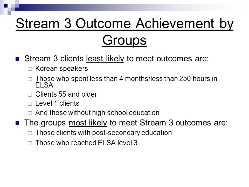 Stream 3 Outcome Achievement by Groups Stream 3 clients least likely to meet outcomes are: Korean speakers Those who spent less than 4 months/less than 250 hours in ELSA Clients 55 and older Level 1 clients And those without high school education The groups most likely to meet Stream 3 outcomes are: Those clients with post-secondary education Those who reached ELSA level 3