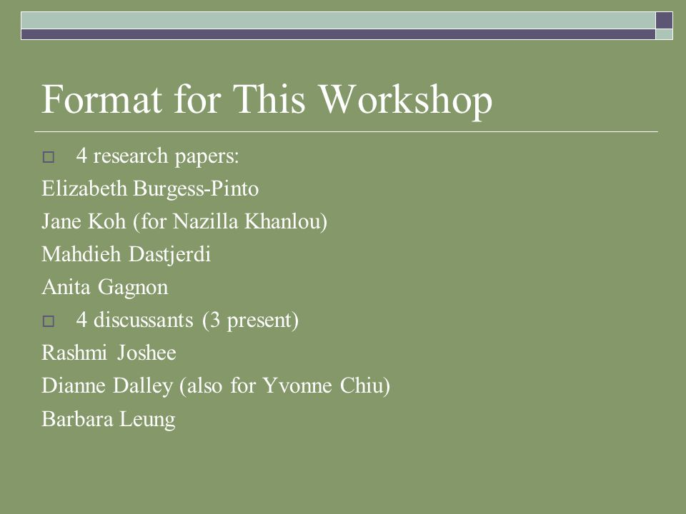 Format for This Workshop 4 research papers: Elizabeth Burgess-Pinto Jane Koh (for Nazilla Khanlou) Mahdieh Dastjerdi Anita Gagnon 4 discussants (3 present) Rashmi Joshee Dianne Dalley (also for Yvonne Chiu) Barbara Leung