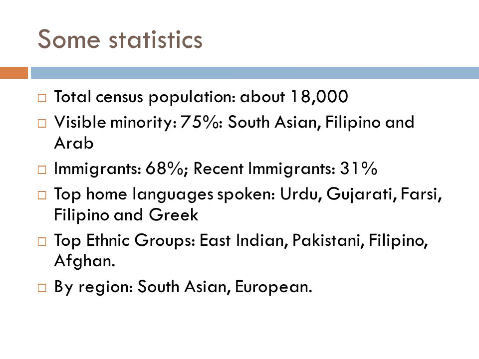 Some statistics Total census population: about 18,000 Visible minority: 75%: South Asian, Filipino and Arab Immigrants: 68%; Recent Immigrants: 31% Top home languages spoken: Urdu, Gujarati, Farsi, Filipino and Greek Top Ethnic Groups: East Indian, Pakistani, Filipino, Afghan.