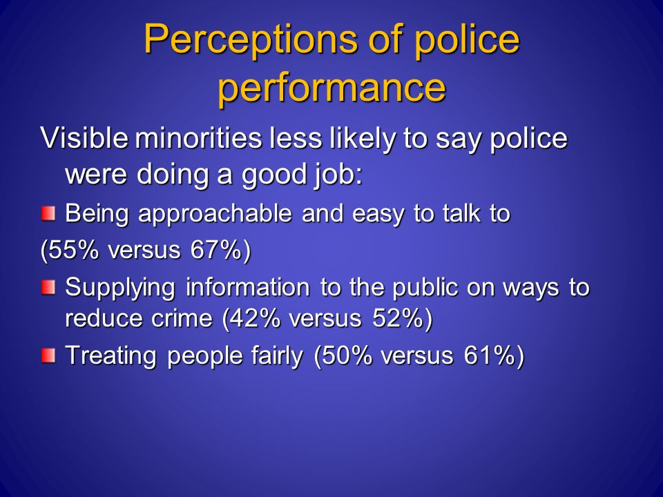 Perceptions of police performance Visible minorities less likely to say police were doing a good job: Being approachable and easy to talk to (55% versus 67%) Supplying information to the public on ways to reduce crime (42% versus 52%) Treating people fairly (50% versus 61%)