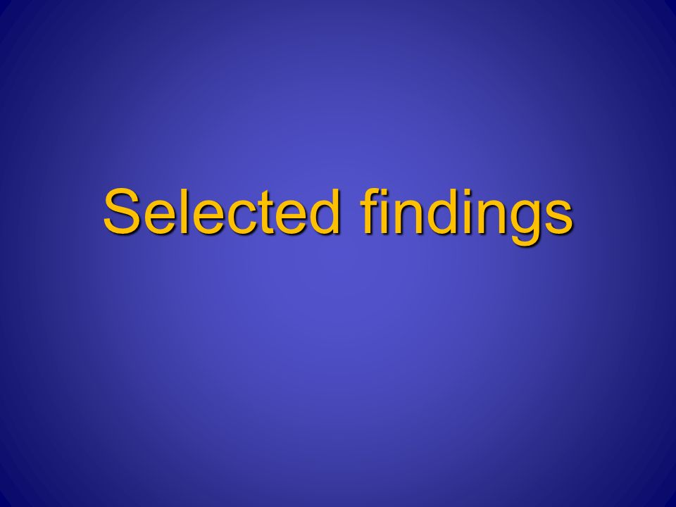 Selected findings