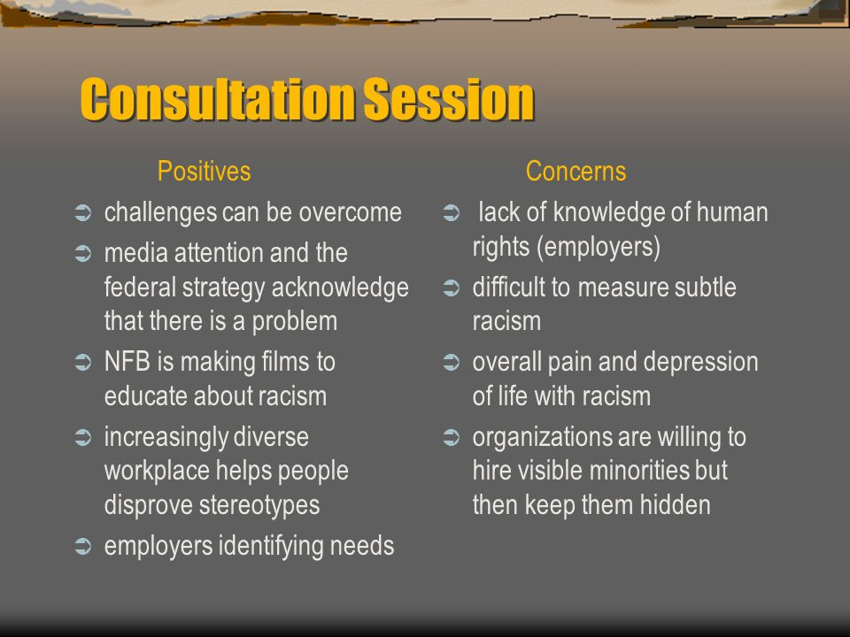 Consultation Session Positives challenges can be overcome media attention and the federal strategy acknowledge that there is a problem NFB is making films to educate about racism increasingly diverse workplace helps people disprove stereotypes employers identifying needs Concerns lack of knowledge of human rights (employers) difficult to measure subtle racism overall pain and depression of life with racism organizations are willing to hire visible minorities but then keep them hidden
