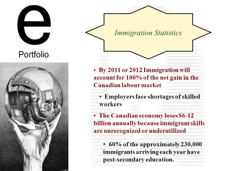 By 2011 or 2012 Immigration will account for 100% of the net gain in the Canadian labour market 60% of the approximately 230,000 immigrants arriving each year have post-secondary education.