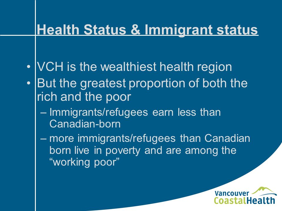 Health Status & Immigrant status VCH is the wealthiest health region But the greatest proportion of both the rich and the poor –Immigrants/refugees earn less than Canadian-born –more immigrants/refugees than Canadian born live in poverty and are among the working poor