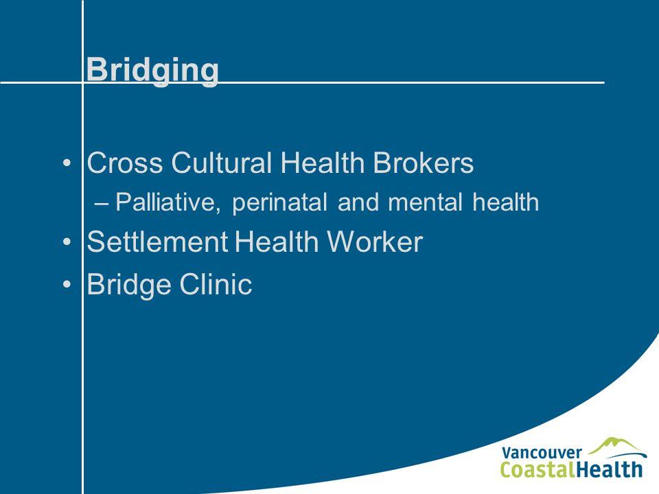 Bridging Cross Cultural Health Brokers –Palliative, perinatal and mental health Settlement Health Worker Bridge Clinic