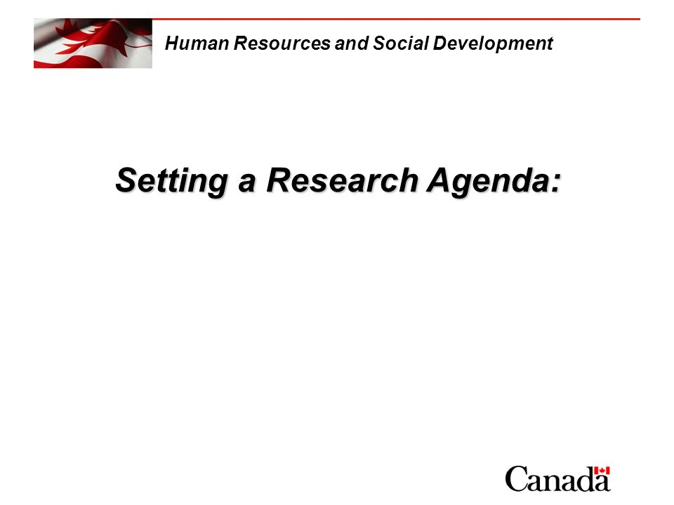 Setting a Research Agenda: Human Resources and Social Development