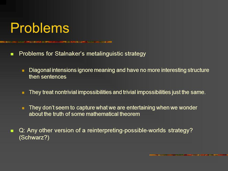Problems Problems for Stalnakers metalinguistic strategy Diagonal intensions ignore meaning and have no more interesting structure then sentences They