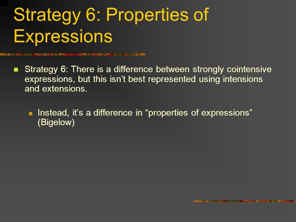 Strategy 6: Properties of Expressions Strategy 6: There is a difference between strongly cointensive expressions, but this isnt best represented using