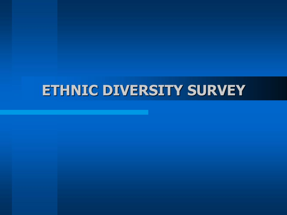 ETHNIC DIVERSITY SURVEY