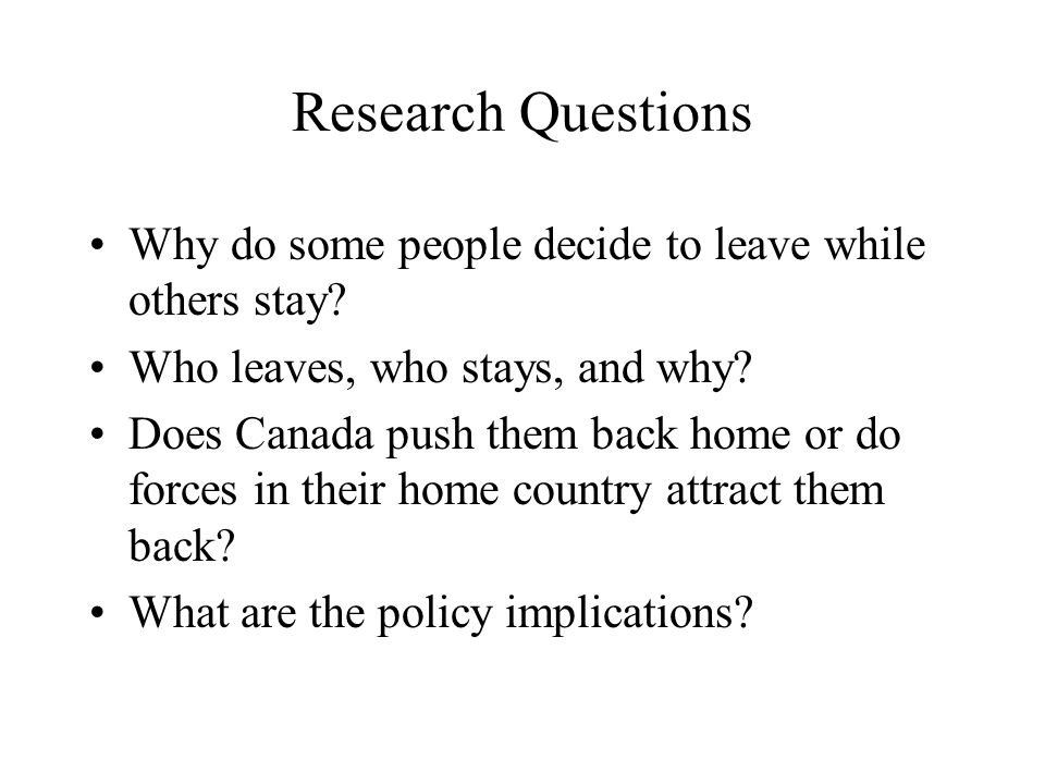 Research Questions Why do some people decide to leave while others stay.