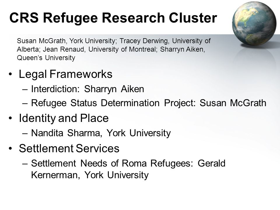 CRS Refugee Research Cluster Legal Frameworks –Interdiction: Sharryn Aiken –Refugee Status Determination Project: Susan McGrath Identity and Place –Nandita Sharma, York University Settlement Services –Settlement Needs of Roma Refugees: Gerald Kernerman, York University Susan McGrath, York University; Tracey Derwing, University of Alberta; Jean Renaud, University of Montreal; Sharryn Aiken, Queens University