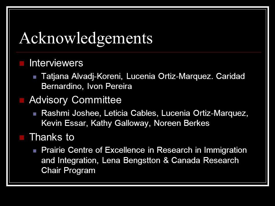 Acknowledgements Interviewers Tatjana Alvadj-Koreni, Lucenia Ortiz-Marquez. Caridad Bernardino, Ivon Pereira Advisory Committee Rashmi Joshee, Leticia