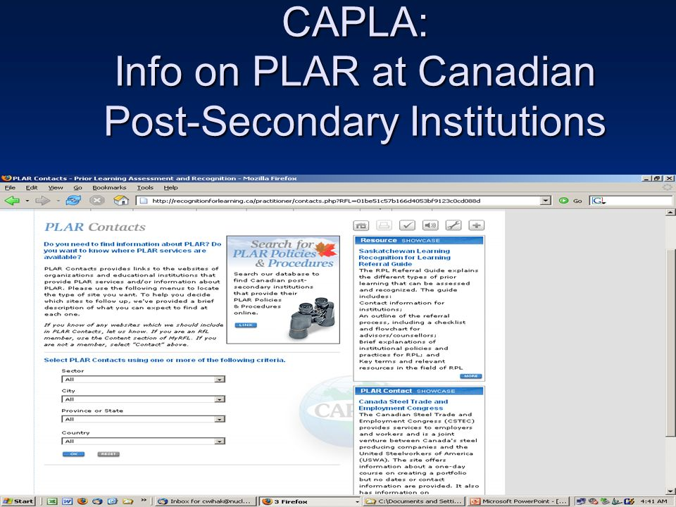 CAPLA: Info on PLAR at Canadian Post-Secondary Institutions