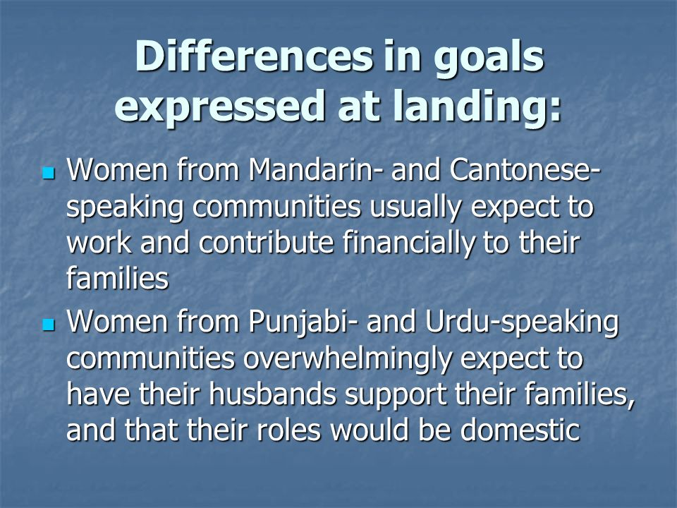 Differences in goals expressed at landing: Women from Mandarin- and Cantonese- speaking communities usually expect to work and contribute financially