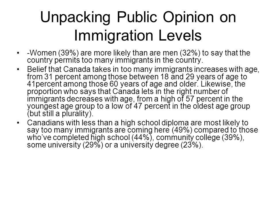 Unpacking Public Opinion on Immigration Levels -Women (39%) are more likely than are men (32%) to say that the country permits too many immigrants in