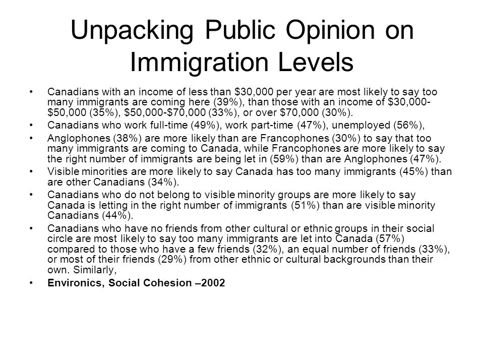 Unpacking Public Opinion on Immigration Levels Canadians with an income of less than $30,000 per year are most likely to say too many immigrants are c