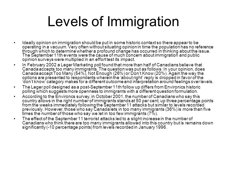 Levels of Immigration