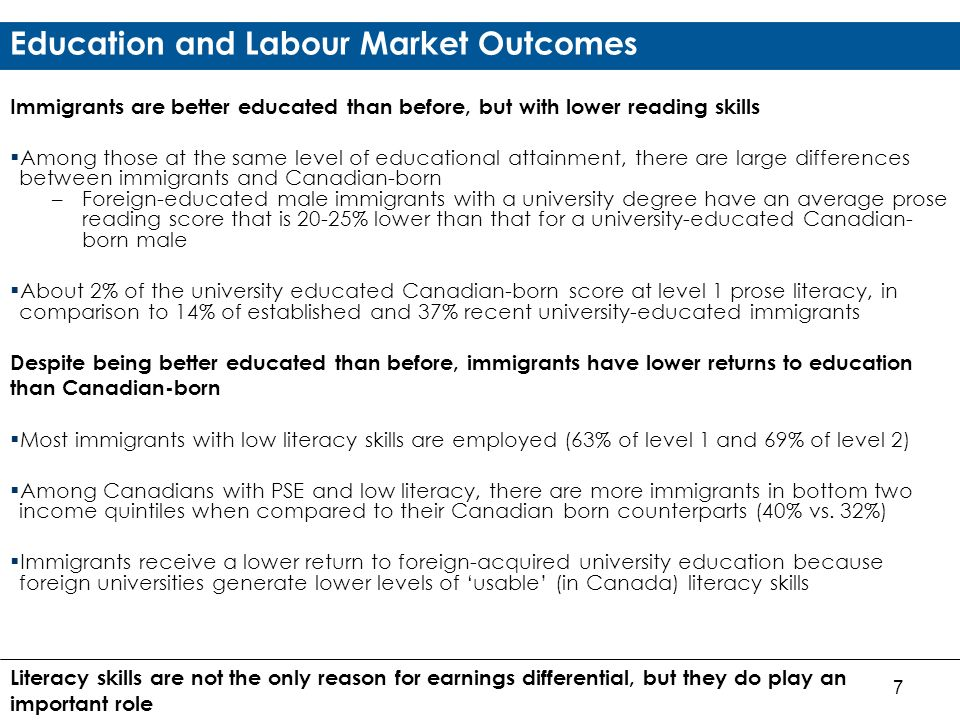 7 Education and Labour Market Outcomes Immigrants are better educated than before, but with lower reading skills Among those at the same level of educational attainment, there are large differences between immigrants and Canadian-born –Foreign-educated male immigrants with a university degree have an average prose reading score that is 20-25% lower than that for a university-educated Canadian- born male About 2% of the university educated Canadian-born score at level 1 prose literacy, in comparison to 14% of established and 37% recent university-educated immigrants Despite being better educated than before, immigrants have lower returns to education than Canadian-born Most immigrants with low literacy skills are employed (63% of level 1 and 69% of level 2) Among Canadians with PSE and low literacy, there are more immigrants in bottom two income quintiles when compared to their Canadian born counterparts (40% vs.