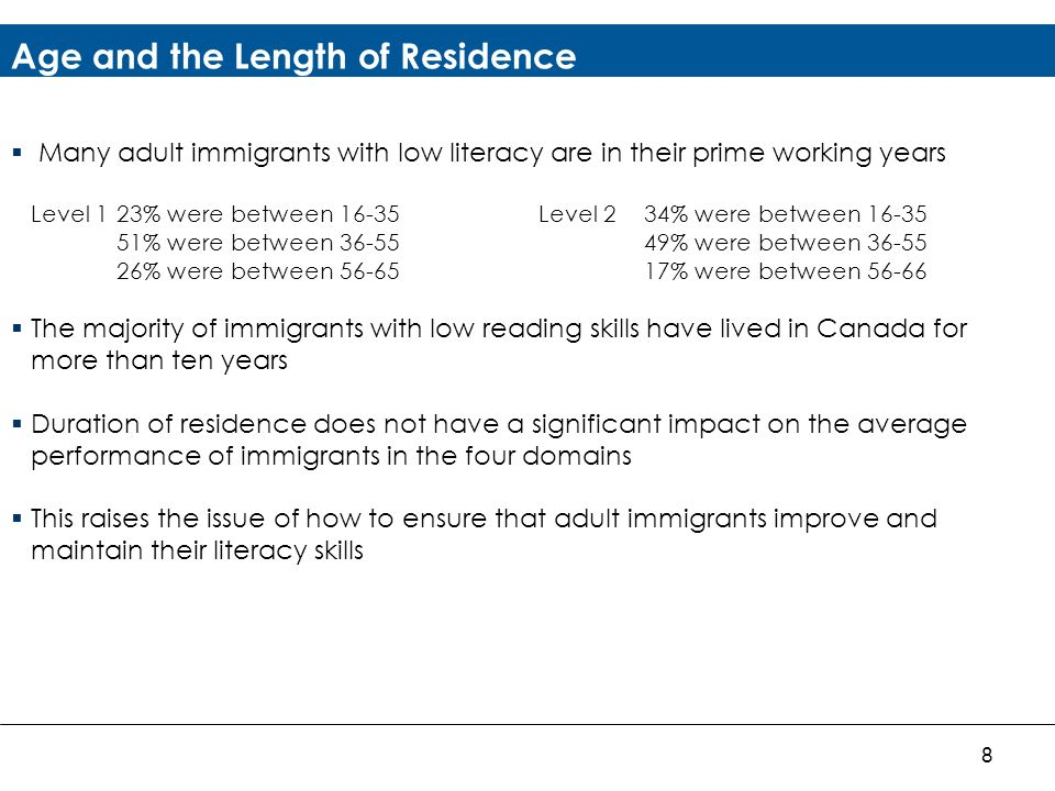 8 Age and the Length of Residence Many adult immigrants with low literacy are in their prime working years Level 123% were between 16-35Level 234% were between 16-35 51% were between 36-5549% were between 36-55 26% were between 56-6517% were between 56-66 The majority of immigrants with low reading skills have lived in Canada for more than ten years Duration of residence does not have a significant impact on the average performance of immigrants in the four domains This raises the issue of how to ensure that adult immigrants improve and maintain their literacy skills