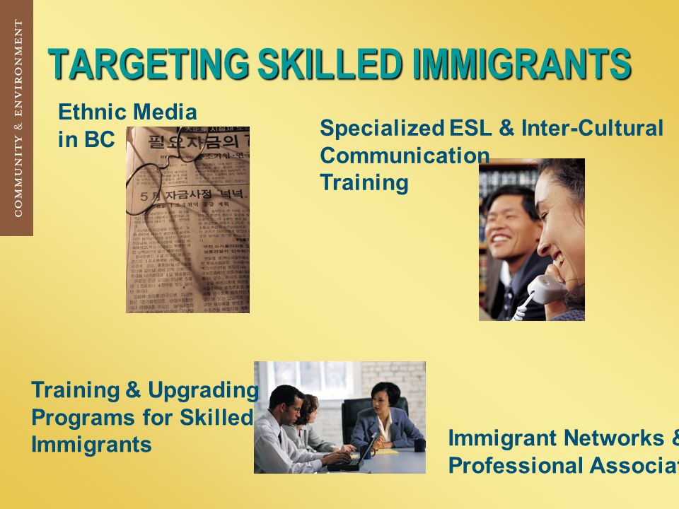 TARGETING SKILLED IMMIGRANTS Ethnic Media in BC Immigrant Networks & Professional Associations Specialized ESL & Inter-Cultural Communication Training Training & Upgrading Programs for Skilled Immigrants
