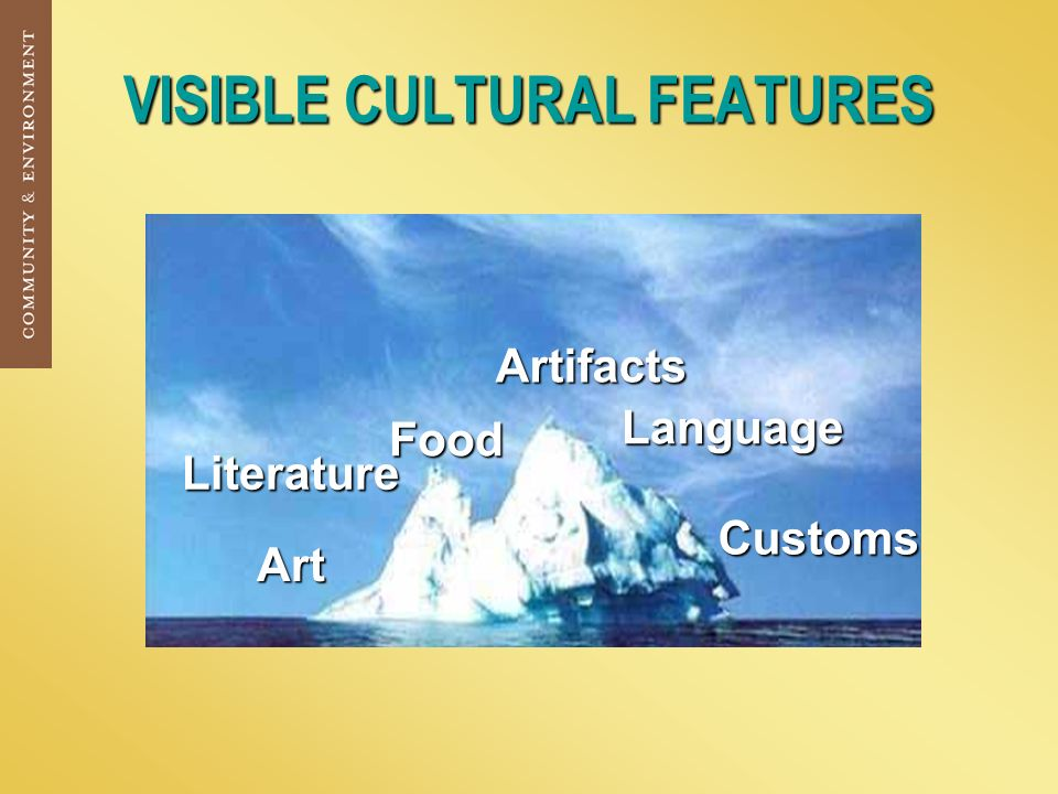 VISIBLE CULTURAL FEATURES Art Food Customs Artifacts Language Literature