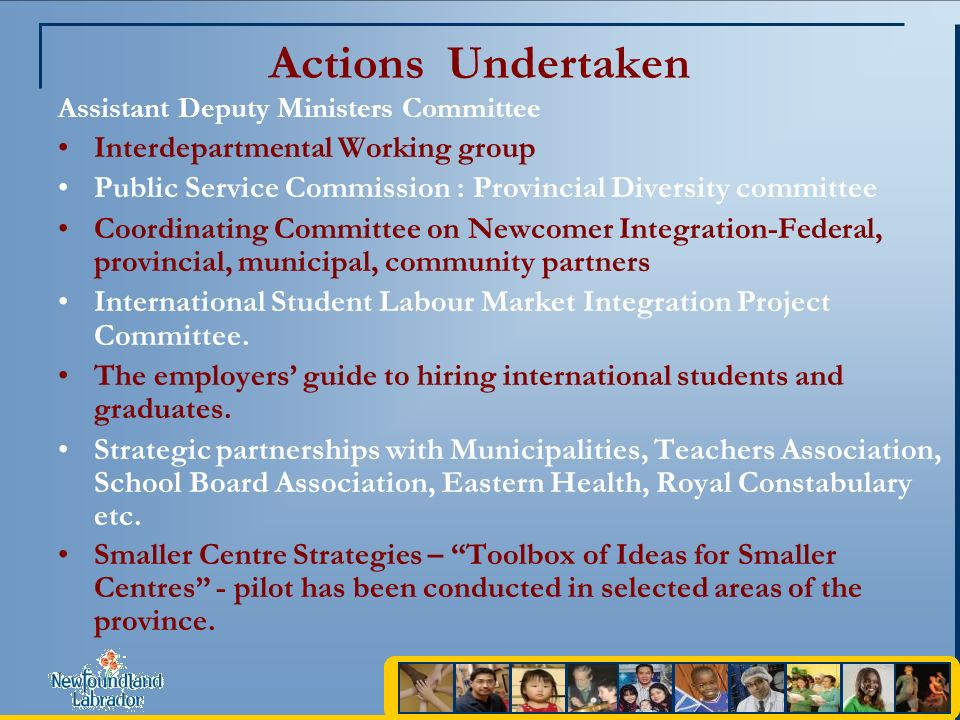 Actions Undertaken Assistant Deputy Ministers Committee Interdepartmental Working group Public Service Commission : Provincial Diversity committee Coordinating Committee on Newcomer Integration-Federal, provincial, municipal, community partners International Student Labour Market Integration Project Committee.