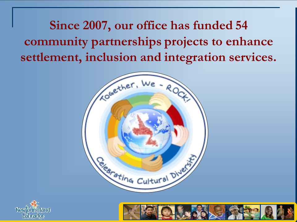 Since 2007, our office has funded 54 community partnerships projects to enhance settlement, inclusion and integration services.