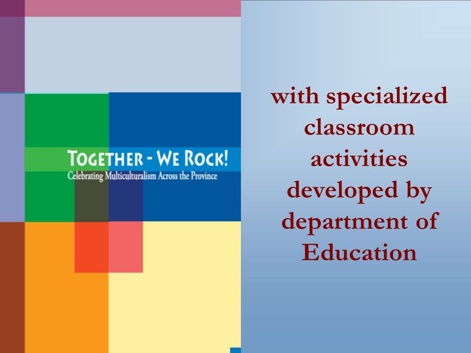 with specialized classroom activities developed by department of Education