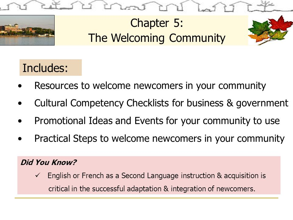 Includes: Chapter 5: The Welcoming Community Did You Know.