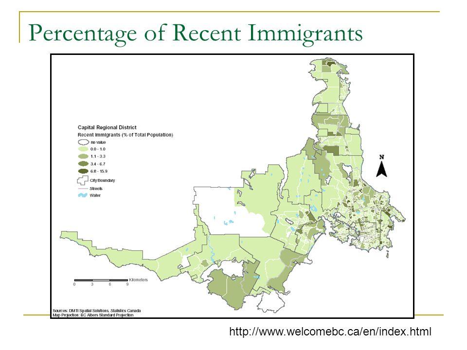 Percentage of Recent Immigrants http://www.welcomebc.ca/en/index.html