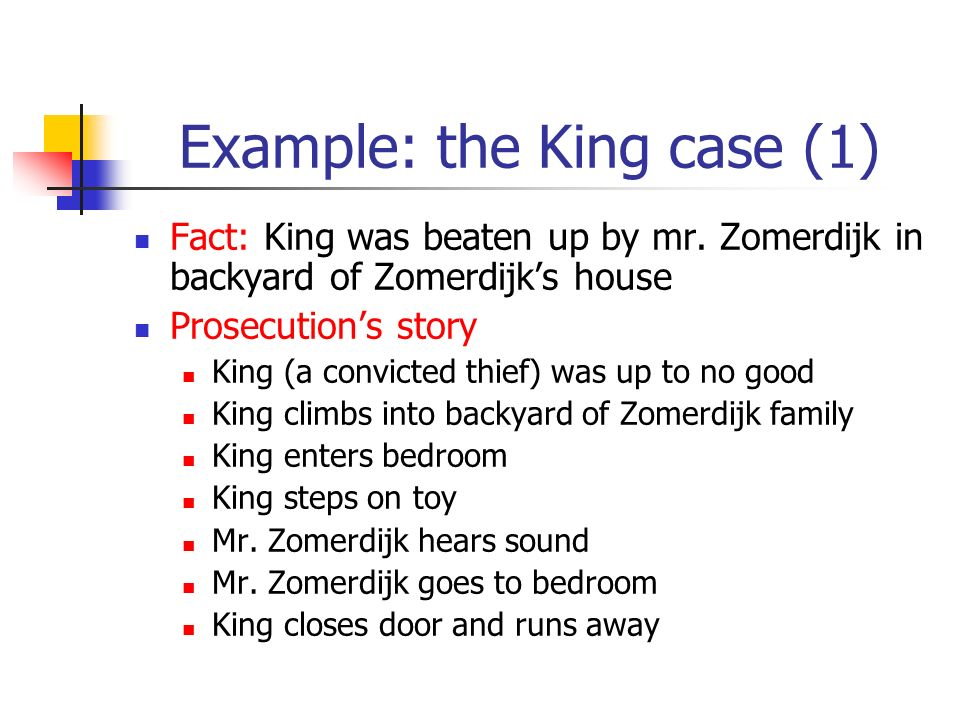 Example: the King case (1) Fact: King was beaten up by mr.