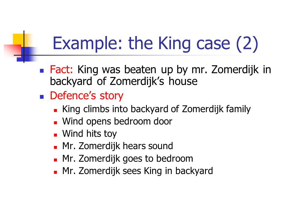 Example: the King case (2) Fact: King was beaten up by mr. Zomerdijk in backyard of Zomerdijks house Defences story King climbs into backyard of Zomer