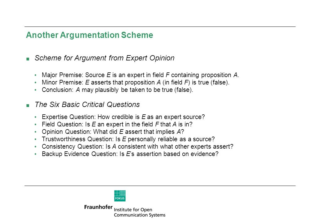 Another Argumentation Scheme Scheme for Argument from Expert Opinion Major Premise: Source E is an expert in field F containing proposition A. Minor P