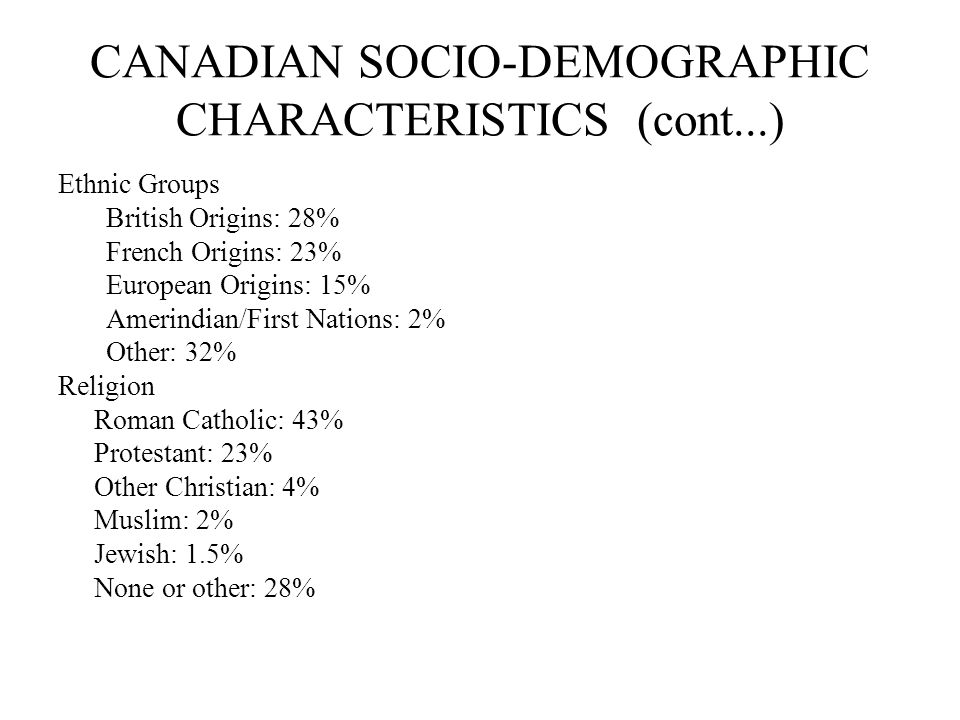 CANADIAN SOCIO-DEMOGRAPHIC CHARACTERISTICS (cont...) Ethnic Groups British Origins: 28% French Origins: 23% European Origins: 15% Amerindian/First Nations: 2% Other: 32% Religion Roman Catholic: 43% Protestant: 23% Other Christian: 4% Muslim: 2% Jewish: 1.5% None or other: 28%