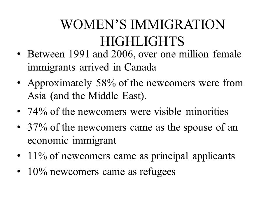 WOMENS IMMIGRATION HIGHLIGHTS Between 1991 and 2006, over one million female immigrants arrived in Canada Approximately 58% of the newcomers were from